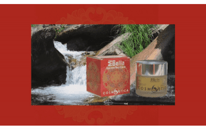 Crema MiBella sobre fondo natural y marco rojo